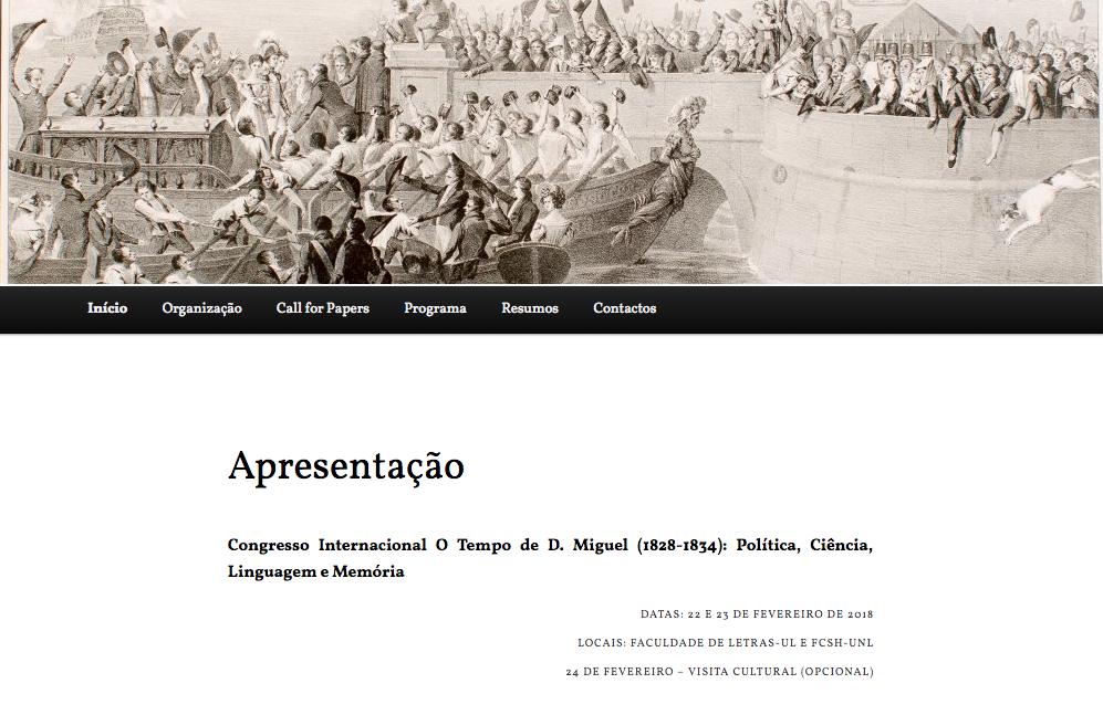 Tempo de D. Miguel (1828-1834): Política, Ciência, Linguagem e Memória