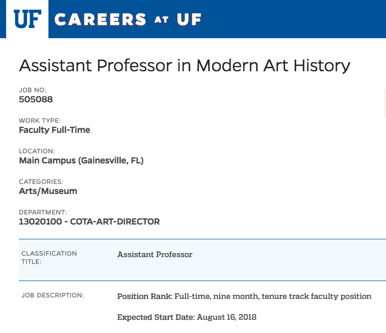 Assistant Professor in Modern Art History (1830–1945) | University of Florida