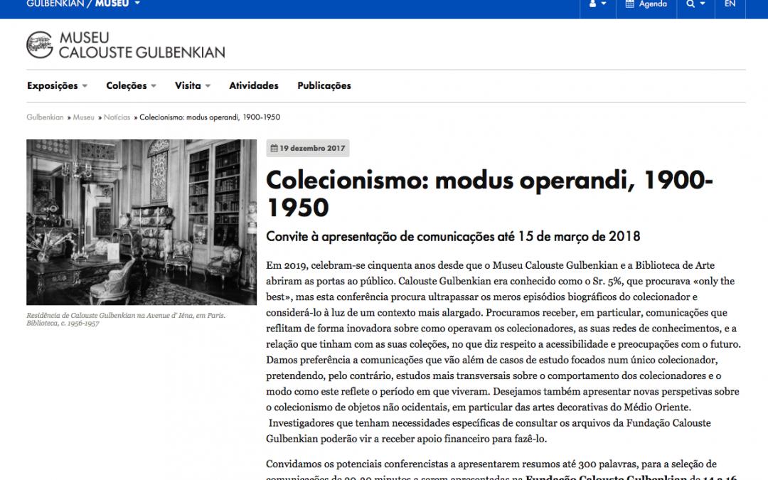 Colecionismo: Modus Operandi, 1900-1950 | Data limite: 15 de Março.