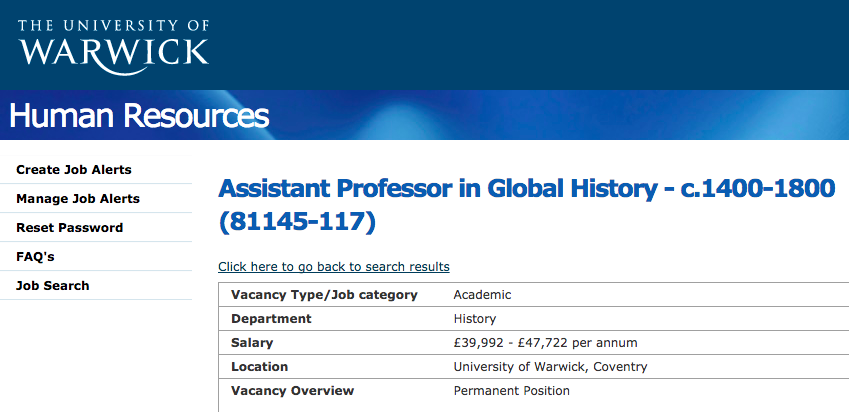 Assistant Professor in Global History c. 1400-1800 | University of Warwick