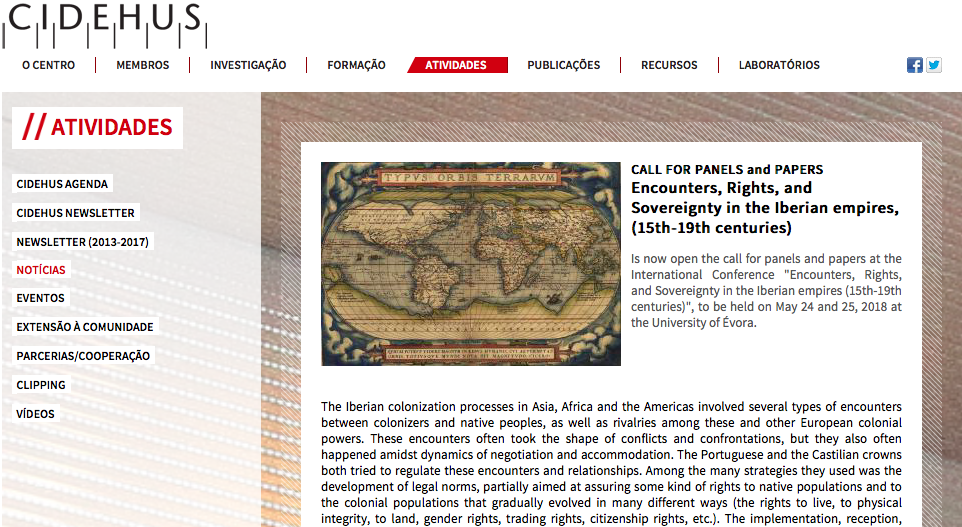 Encounters, Rights, and Sovereignty in the Iberian Empires (15th-19th Centuries) | Data limite: 10 de Fevereiro.