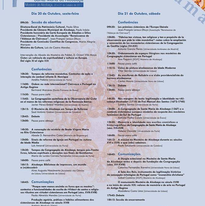 """Congresso Internacional """"450 Anos da Congregação de Santa Maria de Alcobaça"""""""