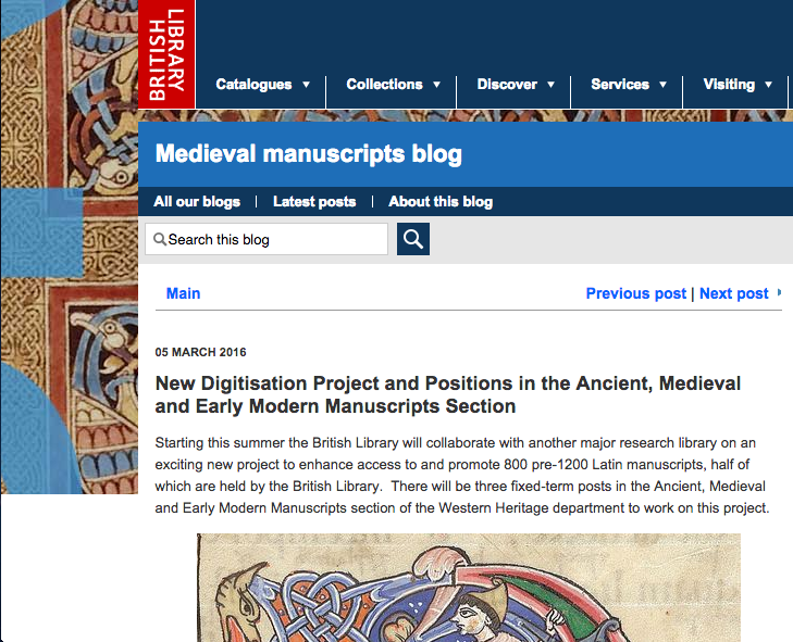 New Digitisation Project and Positions in the Ancient, Medieval and Early Modern Manuscripts Section | British Library