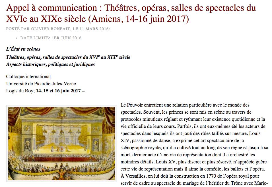 Théâtres, Opéras, Salles de Spectacles du XVIe au XIXe Siècle : Aspects Historiques, Politiques et Juridiques