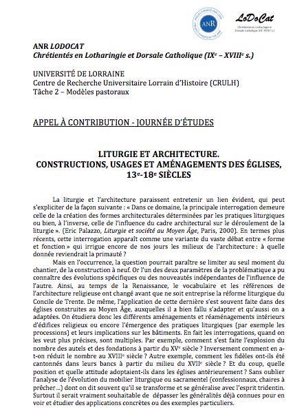 Liturgie et Architecture. Constructions, Usages et Aménagements des Églises (XIIIe-XVIIIe Siècles)