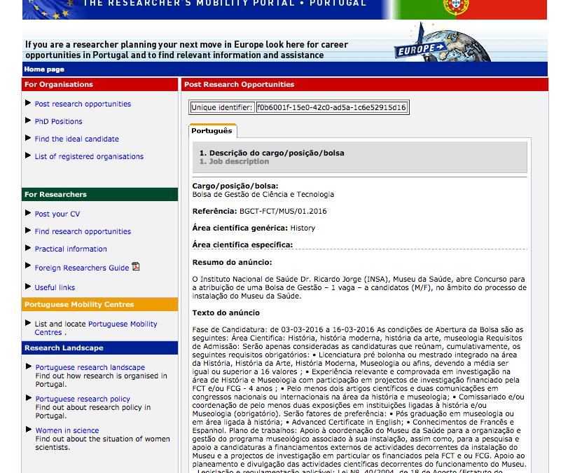Bolsa de Gestão – Instituto Nacional de Saúde Dr. Ricardo Jorge – Museu da Saúde