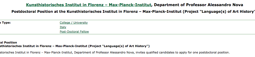 "Postdoctoral Position, Project ""Language(s) of Art History"" – Kunsthistorisches Institut in Florenz – Max-Planck-Institut"