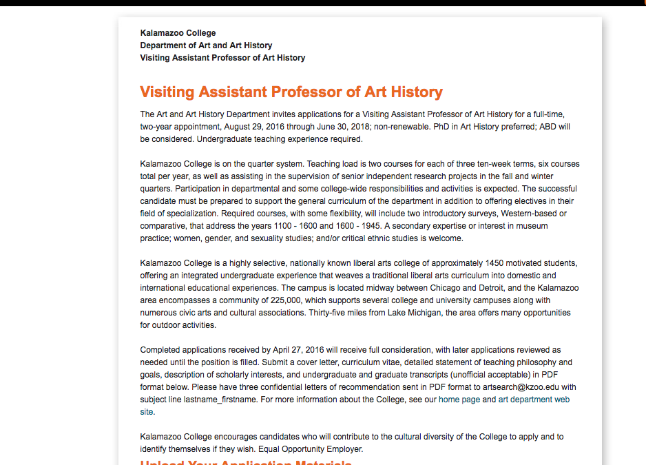 Visiting Assistant Professor of Art History | Kalamazoo College