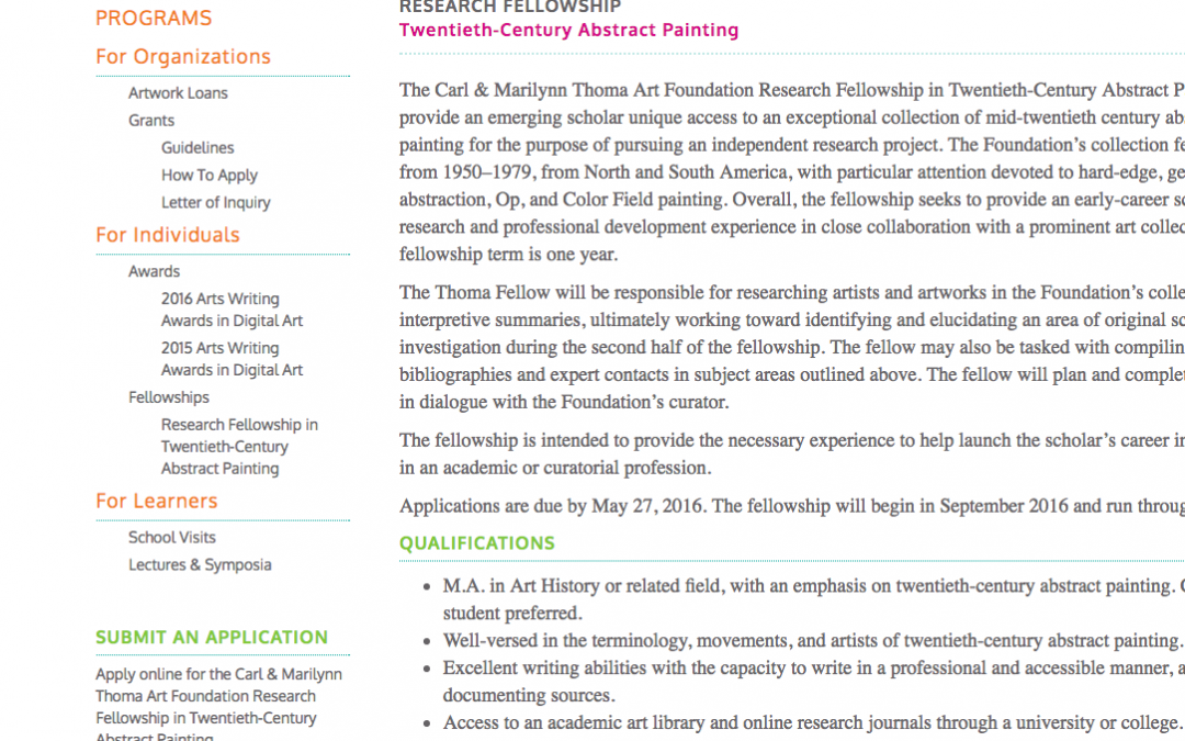 Research Fellowship in Twentieth-Century Abstract Painting | Carl & Marilynn Thoma Art Foundation