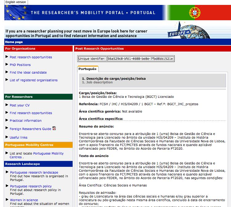 Bolsa de Gestão de Ciência e Tecnologia para Licenciado | Instituto de História Contemporânea da Faculdade de Ciências Sociais e Humanas da Universidade Nova de Lisboa