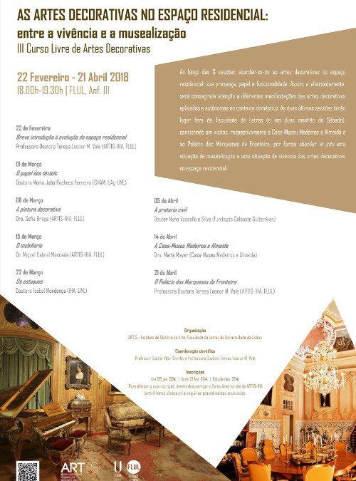 """II Curso Livre de Artes Decorativas """"As Artes Decorativas no Espaço Residencial: Entre a Vivência e a Musealização"""""""