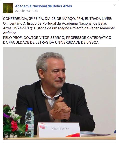 """Conferência """"O Inventário Artístico de Portugal da Academia Nacional de Belas-Artes (1943-2016): História de um Magno Processo de Recenseamento Artístico"""""""