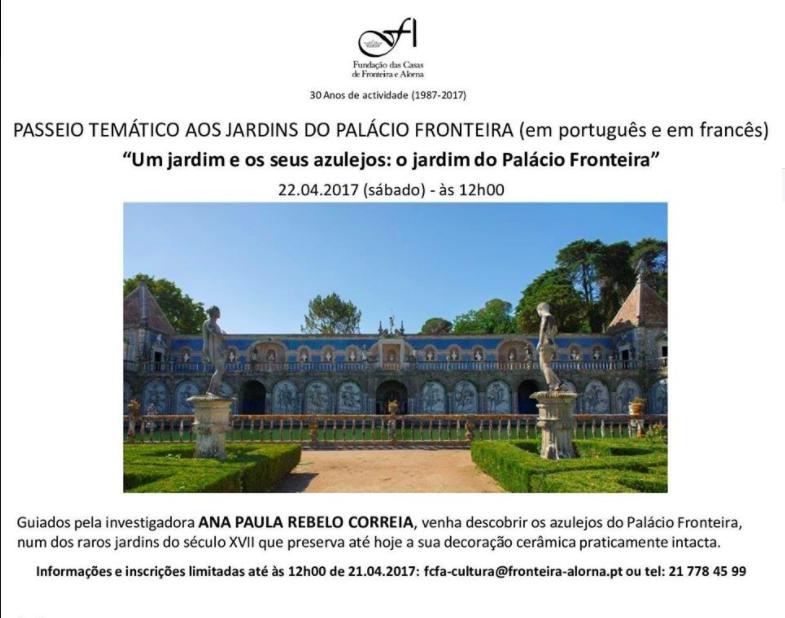 "Passeio Temático ""Um Jardim e os Seus Azulejos: O Jardim do Palácio Fronteira"""