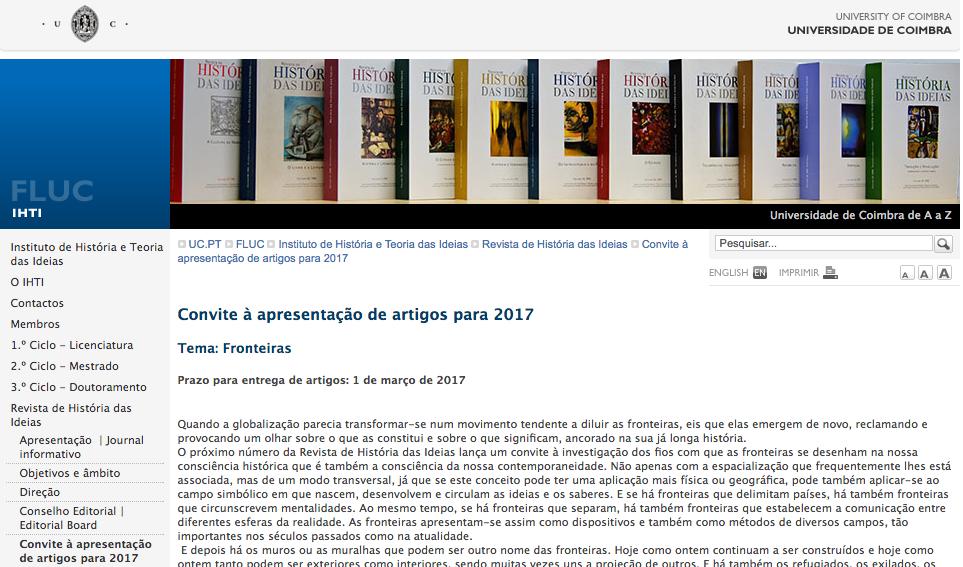 Fronteiras, Revista de História das Ideias