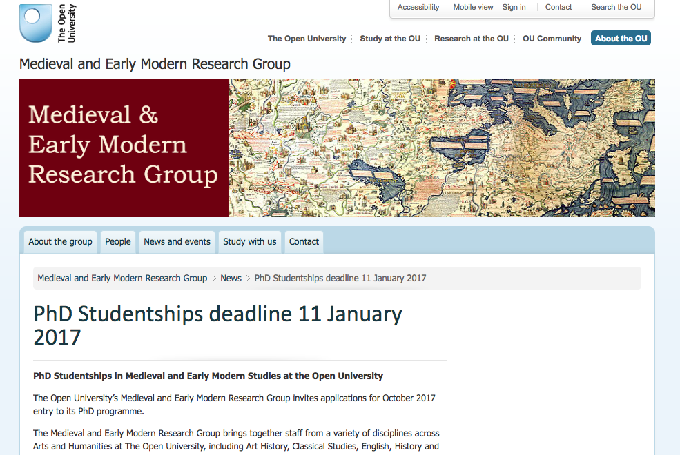PhD Studentships in Medieval and Early Modern Studies at the Open University