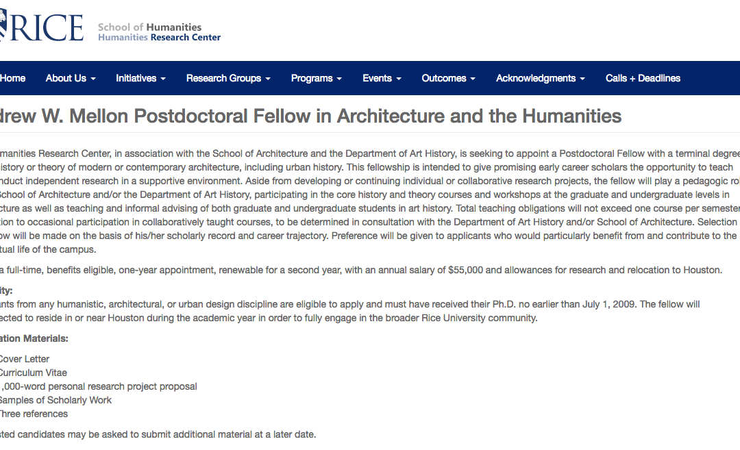 Andrew W. Mellon Postdoctoral Fellow in Architecture and the Humanities