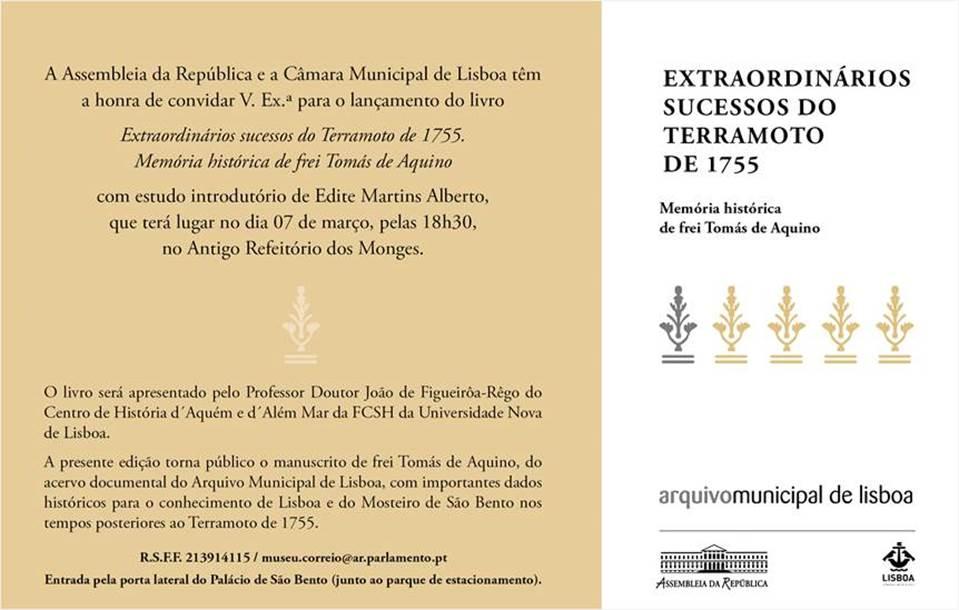 """Lançamento do Livro """"Extraordinários Sucessos do Terramoto de 1755. Memória Histórica de Frei Tomás de Aquino"""""""
